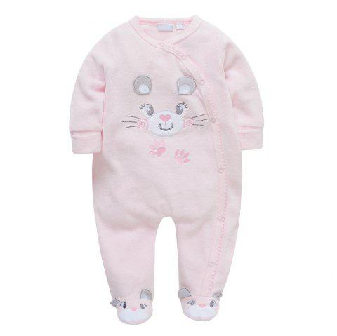 Female Baby Cartoon Climbing Suit Romper - PIG PINK 9-12M