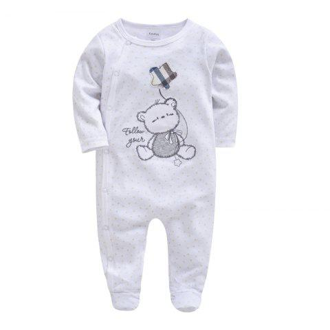 Spring Autumn Cotton Baby Siamese Romper - WHITE 6-9M