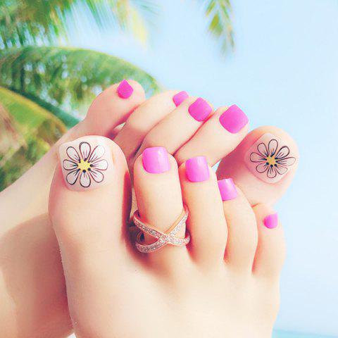 Manicure Wind Resort Beach Flower Toe Nail Patch - MAGENTA