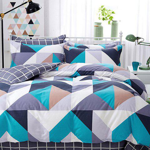 Twill Simple Polka Cotton Bedding Set - SILK BLUE