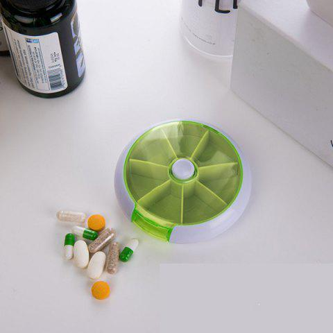 Round 7-day Portable Pill Box - SALAD GREEN