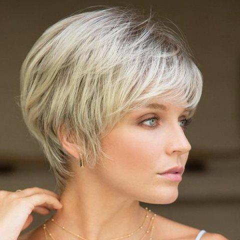 SYJF 020 European American Ladies Level Short Straight Hair Wig - PLATINUM