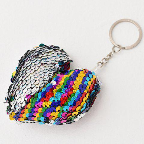 Creative Heart-shaped Sequin Pendant Keychain - SILVER