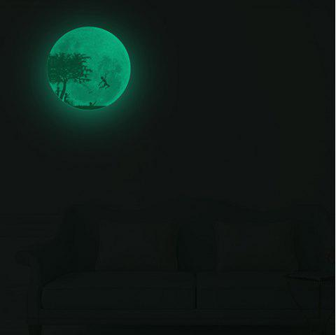 004 Moon Character Series Light Chambre Salon Sticker Mural Amovible - Vert Fougère 30CM*30CM