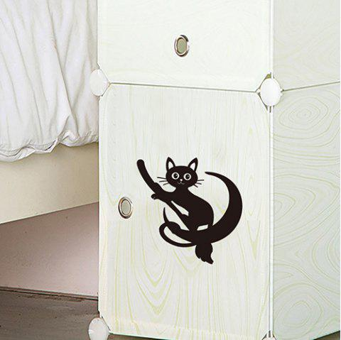 DX018 Carved Craft Cute Cat Removable Wall Stickers - BLACK