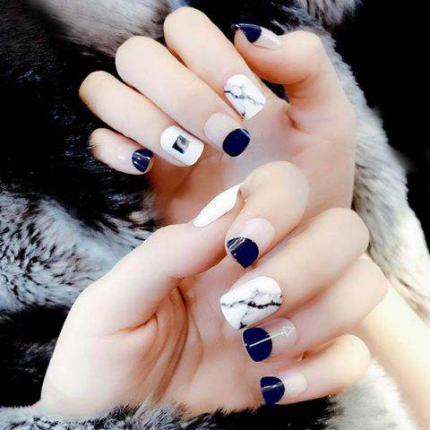 Popular Marbled False Nails Patch 24pcs - MIDNIGHT BLUE