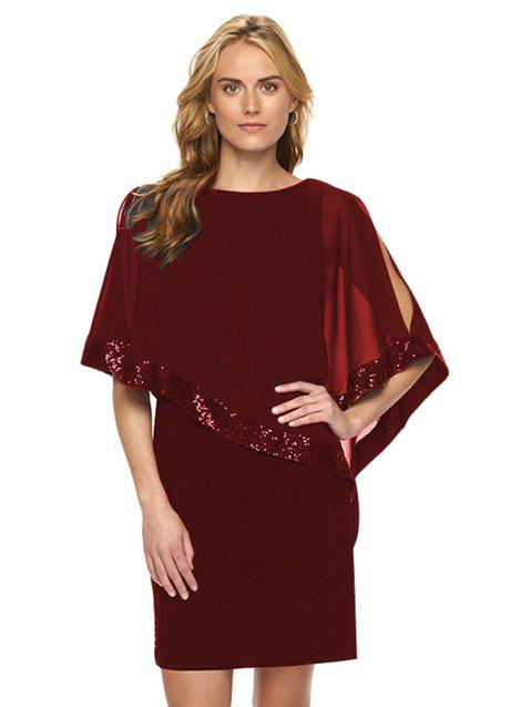 Stitching Sequin Women's Dress - RED WINE 3XL