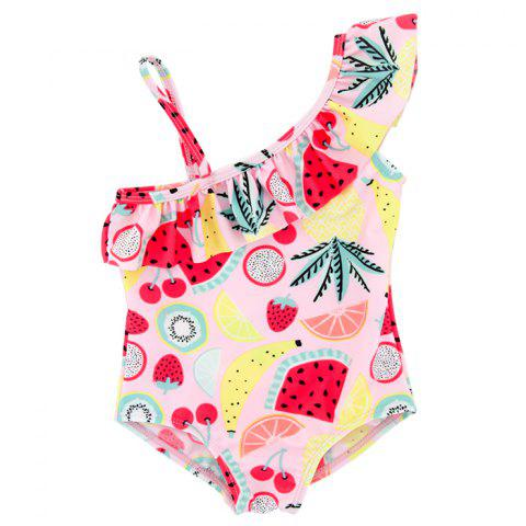 B - 004 Baby Girl Child Print One-piece Swimsuit - multicolor A 3T