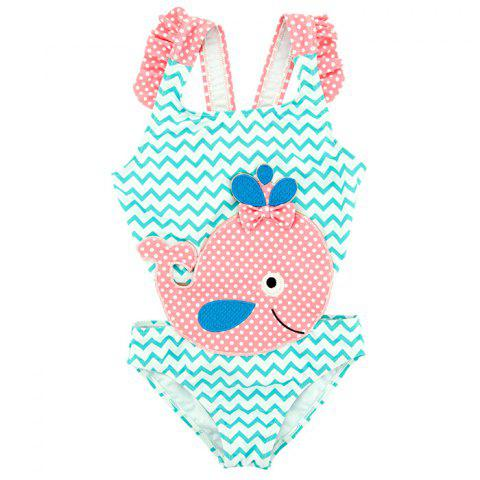 B - 007 Infant and Young Child Big Whale Cartoon Female One-piece Swimsuit - TRON BLUE 3T