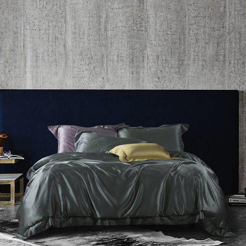 Classic Solid Color Washed Silk Cotton Comfortable Bedding Set - BLACK KING SIZE