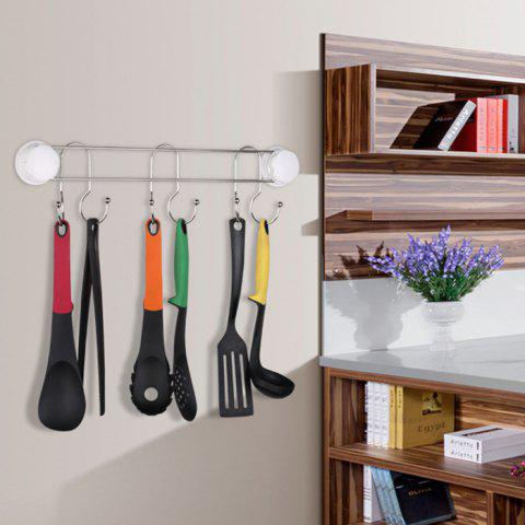 Kitchen Strong Seamless Stainless Steel Suction Cup Hook - WHITE 6 HOOK