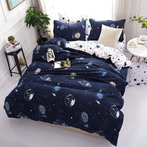 Fantasy Starry Star Wars Future Cosmic Printed Bedding Set - MIDNIGHT BLUE KING SIZE