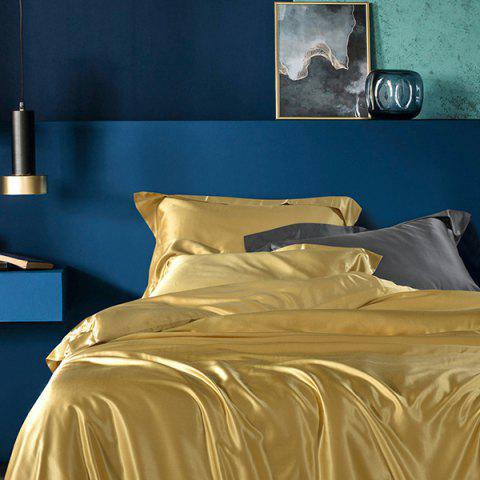 Classic Solid Color Washed Silk Cotton Bedding Set - GOLD KING SIZE