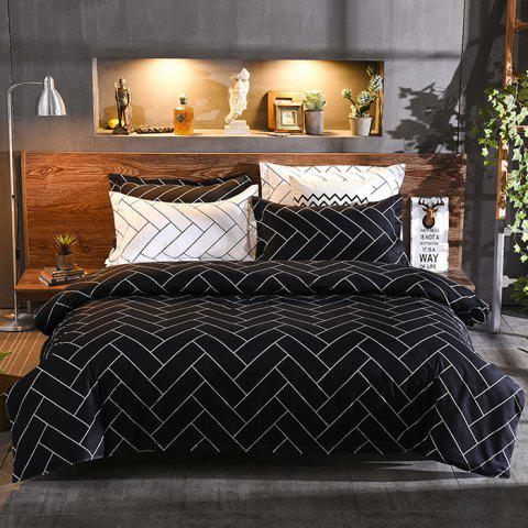 Classic Strips Black White Space Sheets Quilt Cover Four Sets - BLACK QUEEN SIZE