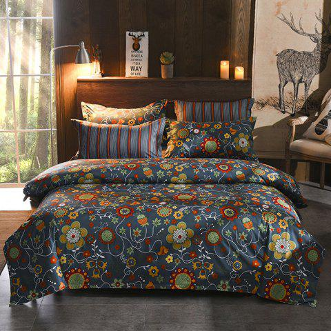 European Style Floral Exotic Bed Linen Quilt Cover Four Sets - DARK SLATE BLUE KING SIZE