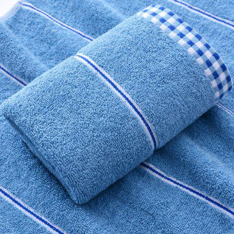 Cotton Plaid Side Wash Towel - SILK BLUE