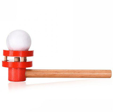 Early Childhood Education Traditional Wooden Blowing Ball Toy - LAVA RED