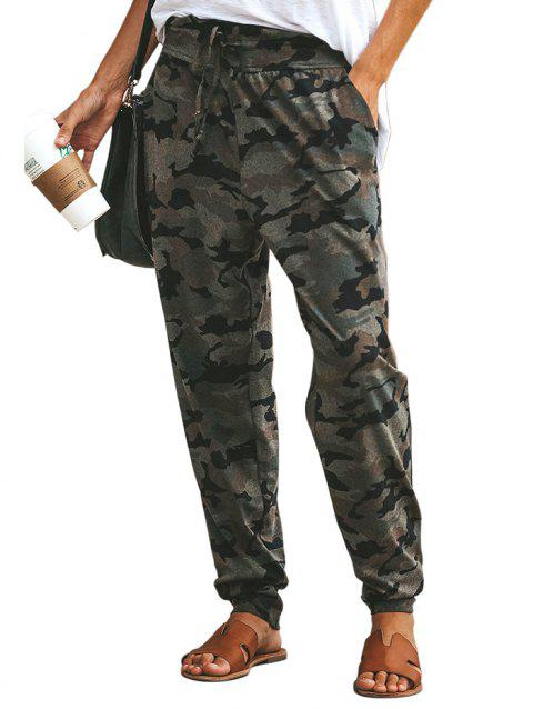 77139 Wild High Waist Camouflage Loose Casual Pants - BLACK M