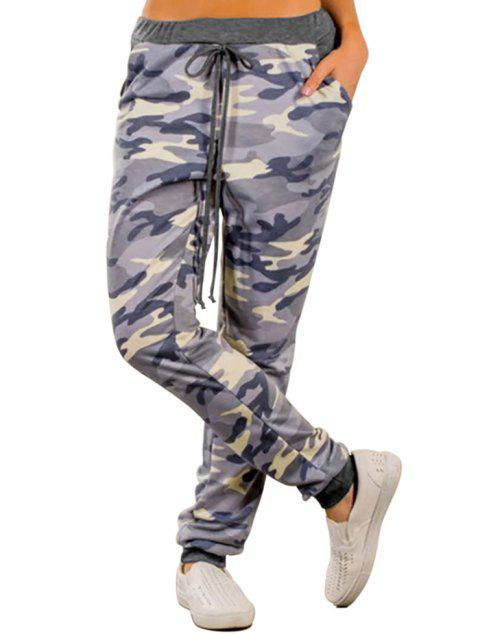 77139 Wild High Waist Camouflage Loose Casual Pants - GRAY M