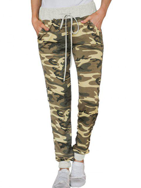 77139 Wild High Waist Camouflage Loose Casual Pants - FERN GREEN L