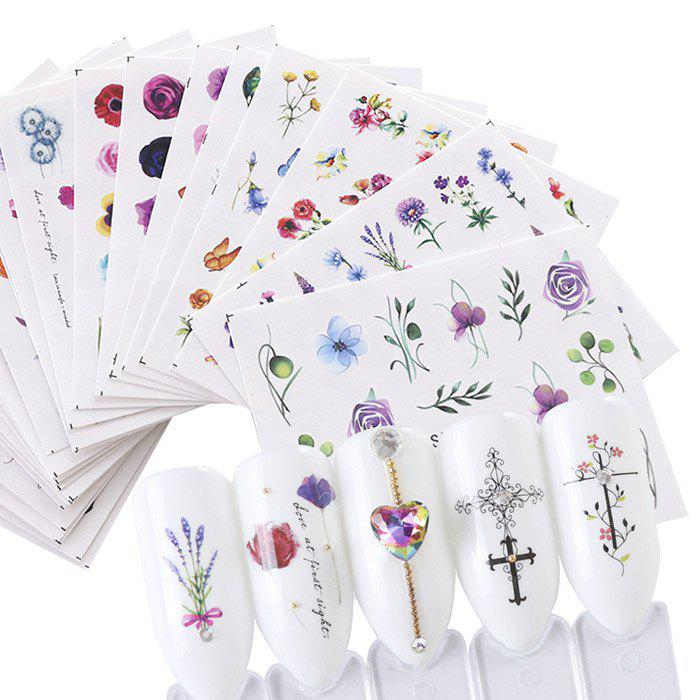 Art Flower Watermark Rose Wild Trend Nail Sticker 24 pcs - multicolor A
