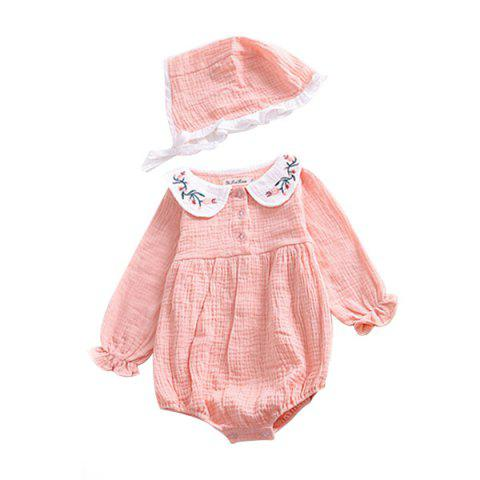 Baby Girl Collar Embroidered One-piece Dress - LIGHT PINK 100