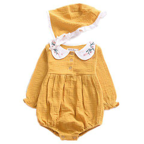 Baby Girl Collar Embroidered One-piece Dress - ORANGE GOLD 90