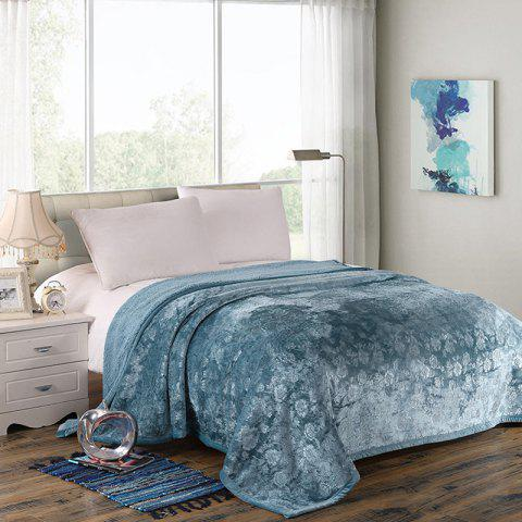 Solid Color Double Thick Flannel Embossed Blanket - SLATE BLUE