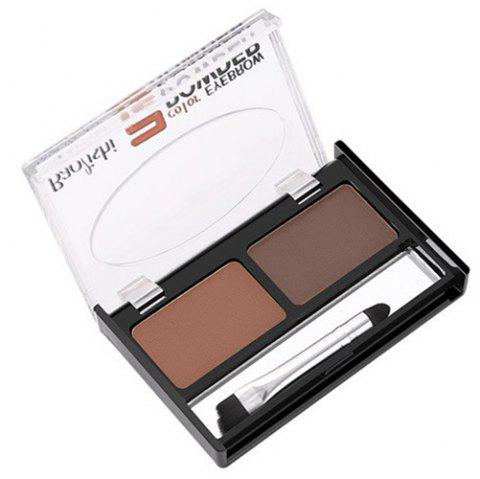 ME0011 Two-color Eyebrow Powder Long-lasting Waterproof Cream with Brush - multicolor B