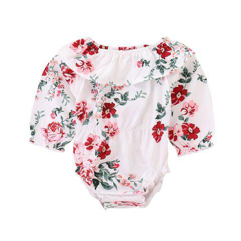 FT1195 Girl Cotton One Shoulder Sweet Flower Print Pleated Long Sleeve Triangle Baby Romper - WHITE 80