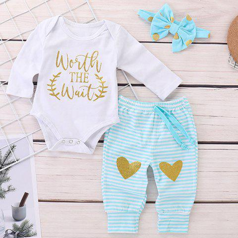 FT1112 Baby Girl Cotton Letter Long-sleeved Romper + Love Hot Stamping Trousers + Wave Fashion Hair Band Three-piece - WHITE 70
