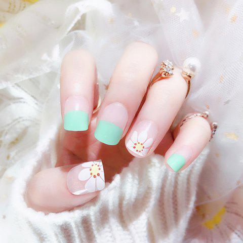 Manicure Tool Fresh Green Light Flower Nail Patch 24pcs - multicolor