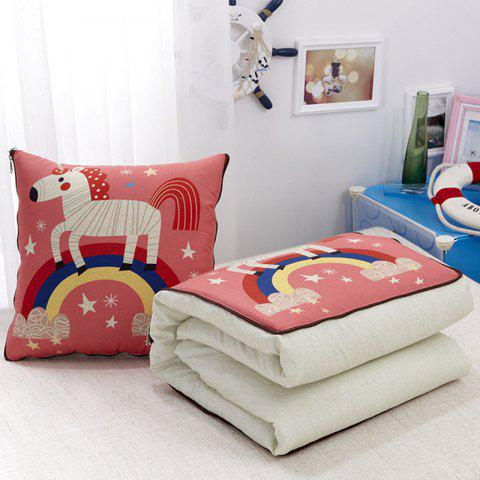 Multifunction Linen Pillow Cartoon Air Cushion - BEAN RED