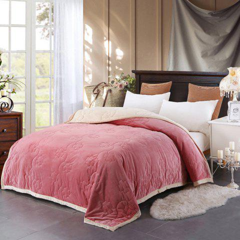 Plain Quilted Velvet Three-layer Thick Coral Fleece Blanket - PIG PINK 200*230*2CM LARGE