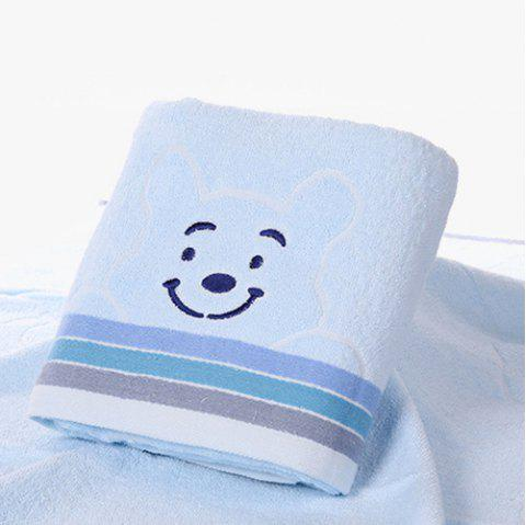 Smiley Bear Thickening Adult Cotton Bath Towel - SKY BLUE