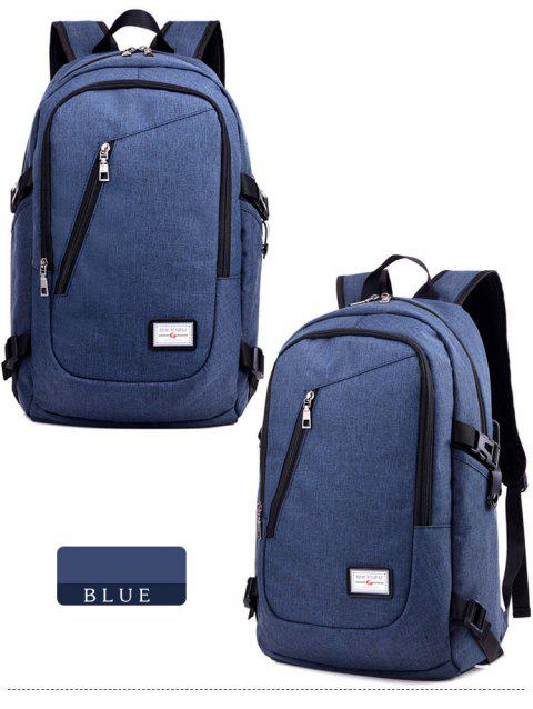 Leisure Men Backpack Female Tide College Wind Students School Bag USB Charge Bag - MIDNIGHT BLUE