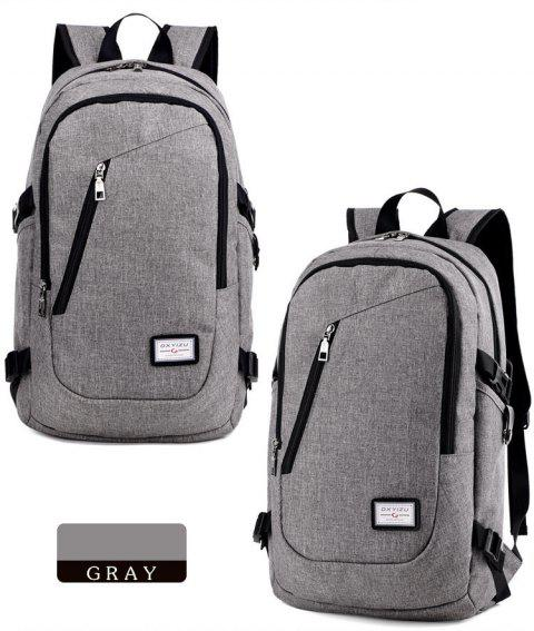 Leisure Men Backpack Female Tide College Wind Students School Bag USB Charge Bag - GRAY