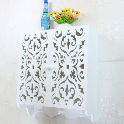 Nordic Style Carved Double Door Hanging Cabinet Wall Storage Box - WHITE