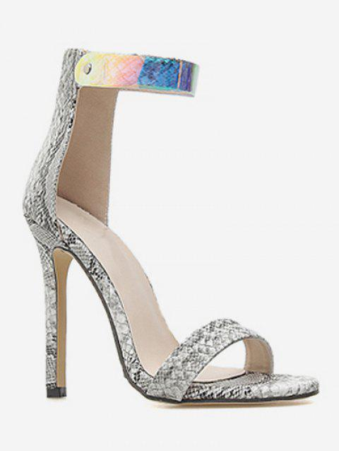 Snake Print Ankle Strap Heeled Sandals - multicolor EU 36