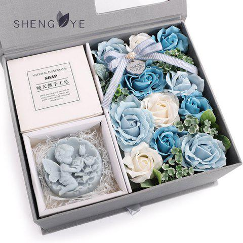 Chinese Valentine's Day Creative Soap Flower Rose Gift - BABY BLUE