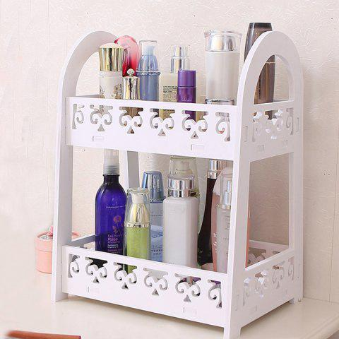 Nordic Style Carved Two-layer Cosmetics Storage Rack - WHITE