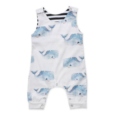 FT1085 Baby Sleeveless Big Whale Personality Print Rompers - WHITE 70