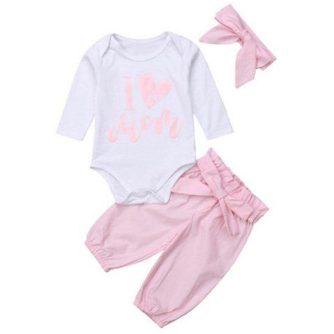 FT1682 I LOVE MOM Printing Letters Female Baby Clothing Set - PIG PINK 90