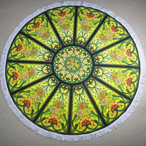 Hand-painted Graffiti Printed Round Beach Towel - SALAD GREEN