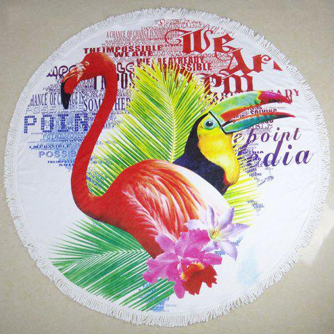 Toucan Full Polyester  Round Fringed Beach Towel - VALENTINE RED