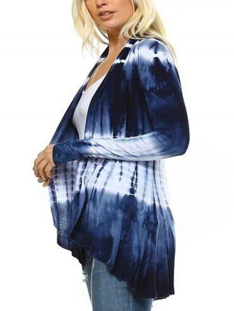 Printed Tie-dyed Gradient Color Women's Cardigan - BLUE L