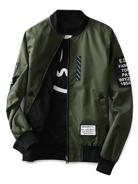 Embroidered Letter Double-sided Coat - ARMY GREEN 3XL