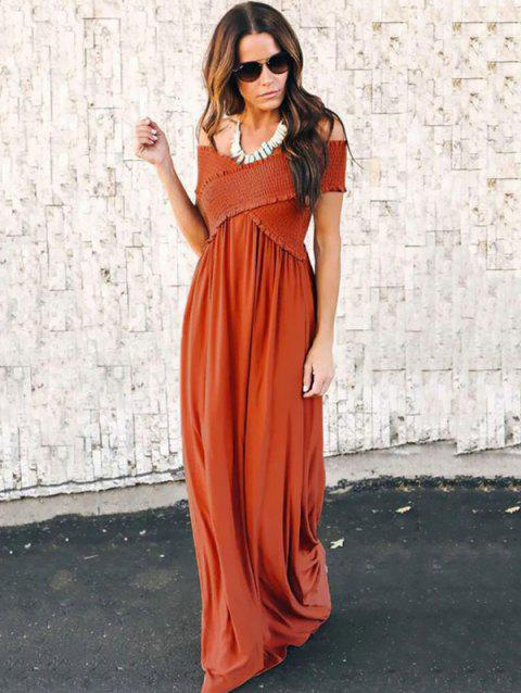 Fashion Wrapped Chest Long Dress - CHESTNUT RED S