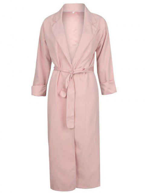 Fashion Thin Long-sleeved Trench Coat - LIGHT PINK XL