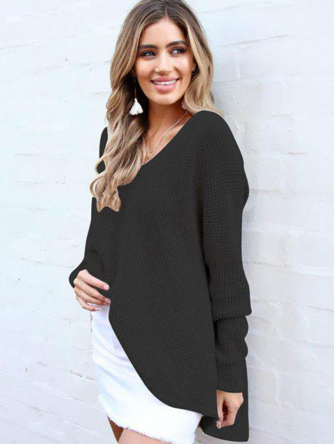 BA0241 V-neck Thin Long-sleeved Sweater - BLACK XL
